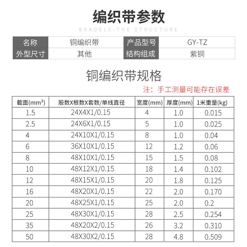 铜编织带接地线4/6/10/25/35平方配接地棒避雷针1米导电铜编织线