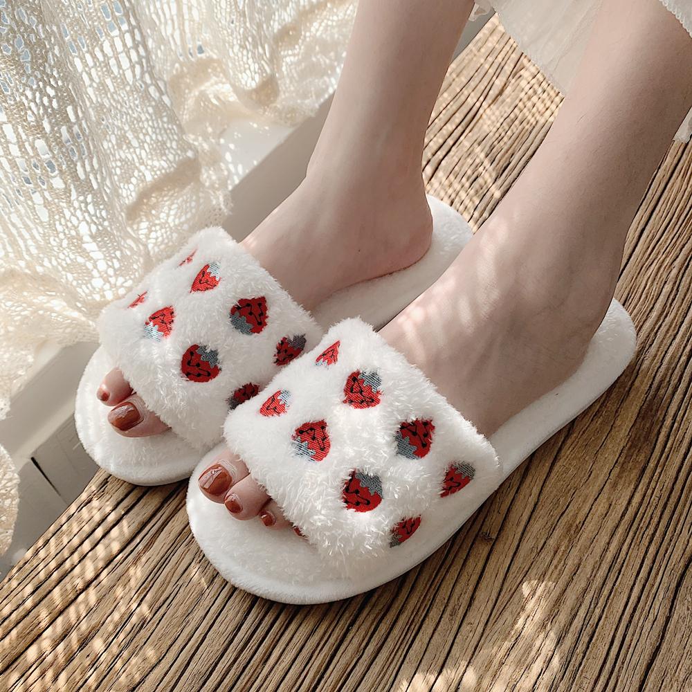 网红软萌水果可爱刺绣菠萝草莓棉拖鞋女室内居家秋冬季 ins 细细条