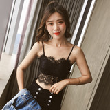 Cone point lace short tube top underwear bottoming beautiful back girl sexy anti-glare with chest pad back buckle wrapped chest