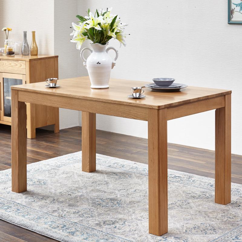 源氏木语纯实木餐桌全白橡木餐台饭桌环保餐桌椅组合餐厅组装家具