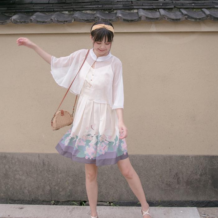川黛 -《紫阳庭院》原创设计 夏日少女 紫阳团扇印花 轻lo连衣裙