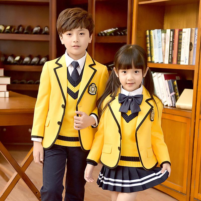 班服西装春秋冬季英伦学院风外套男女童小学生校服套装幼儿园园服