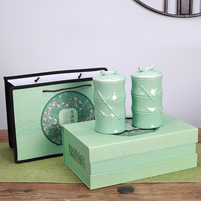 綠茶陶瓷罐茶葉包裝嶗山春茶西湖龍井碧螺春禮盒毛峰空盒信陽毛尖