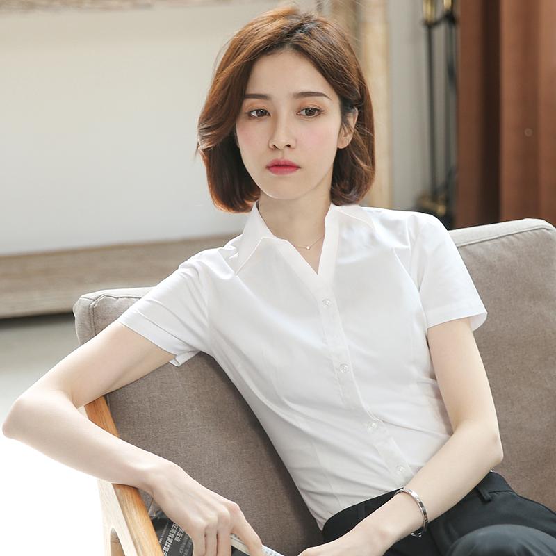 优柏白衬衫女短袖夏季薄款职业装工作服2021新工装正装白色衬衣夏主图
