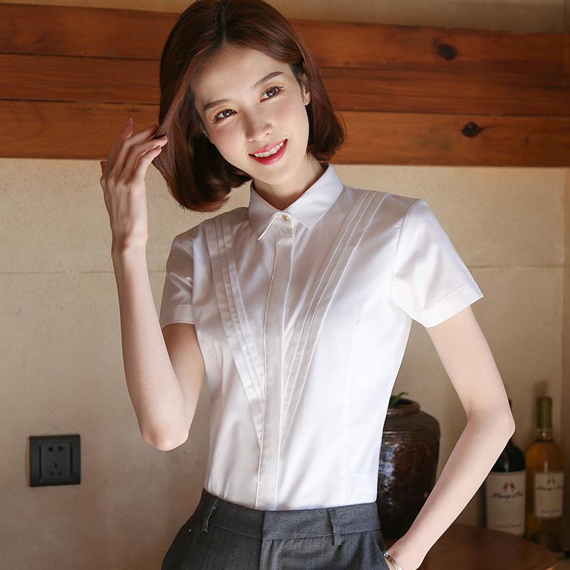 白衬衫女短袖工作服职业装夏季薄款设计感小众工装白色衬衣正装夏主图