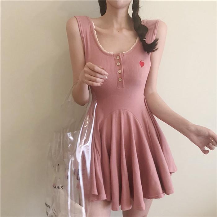 柳岩网红同款 韩版学生减龄小清新无袖收腰显瘦连衣裙 2018夏女装