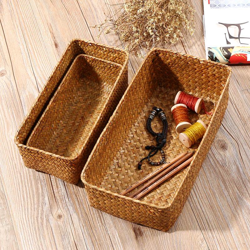 手工編織草編收納筐 藤編桌面零食客廳乾果籃子 化妝品雜物收納籃