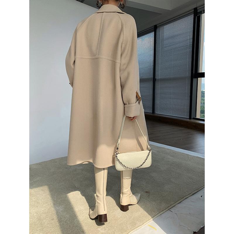 Y20Y01239 长款西装领双面呢大衣 袖口拼皮款