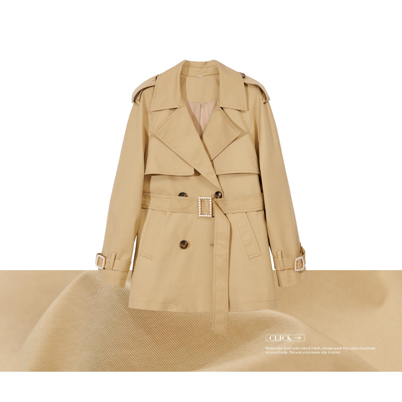 V213FYG063 珠珠扣短款风衣   短款双排扣风衣外套