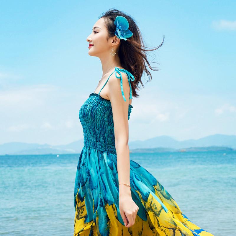 波西米亚大摆型民族风系带抹胸吊带连衣裙夏季雪纺印花长裙孔雀裙