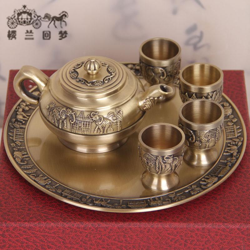青銅器商務禮品工藝品擺件銅製套裝錫罐青銅茶具茶壺四隻茶杯托盤