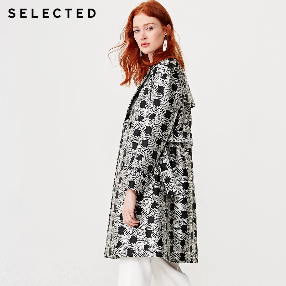 419121503 思莱德格子提花双排扣女士风衣外套 SELECTED 折 8.5 件 3