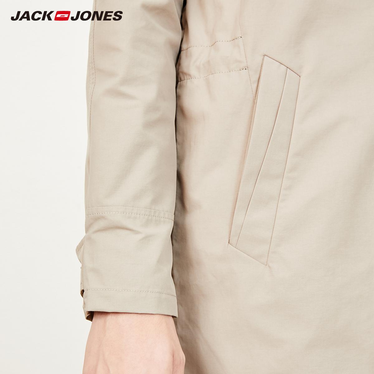 JackJones  219121528 杰克琼斯男商务翻领修身中长款风衣外套  聚