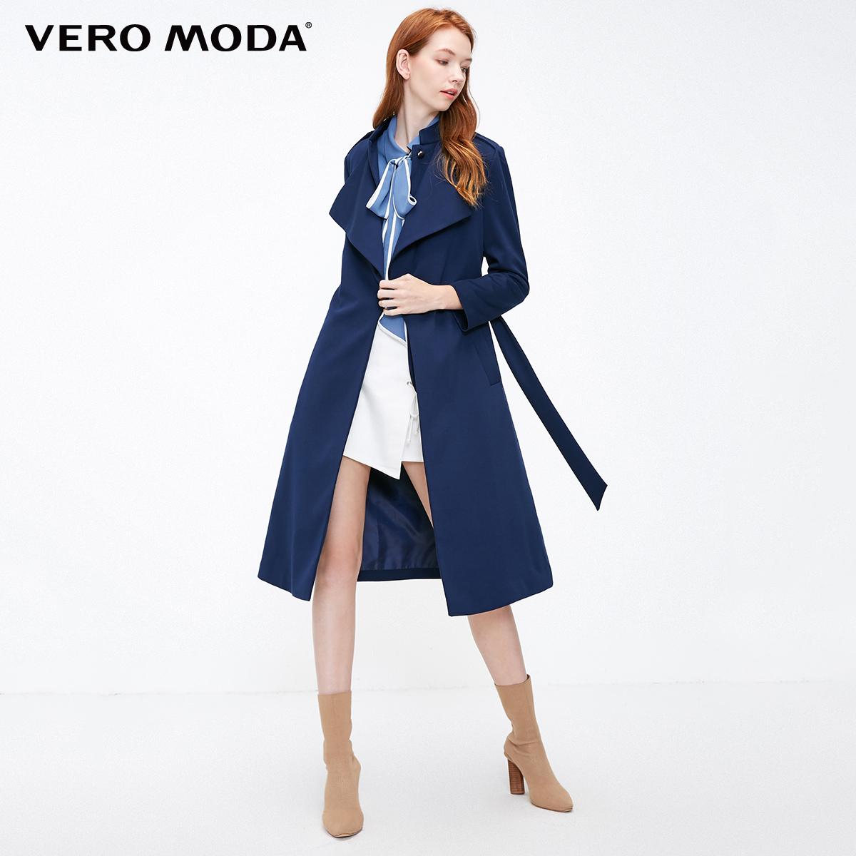 318421501 秋季新款氣質假兩件系扣翻領大衣外套女 Moda Vero 聚