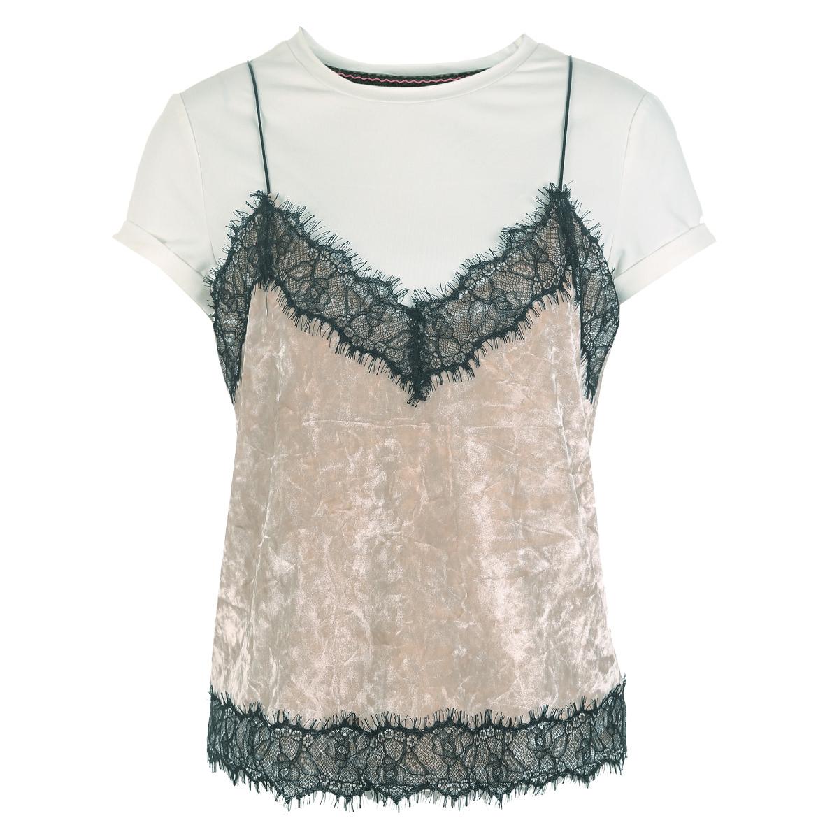 ONLY春新蕾丝拼接丝绒吊带半袖两件套女|117201562