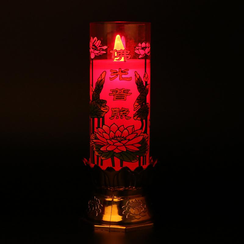 LED供佛电子蜡烛香炉台佛光普照灯节能电子蜡烛台供财神仿真蜡烛