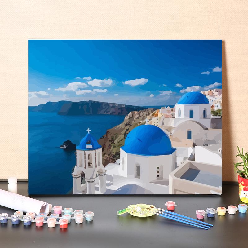 數字油畫diy手工填充希臘愛琴海圣托里尼風景手繪畫畫涂色油彩畫