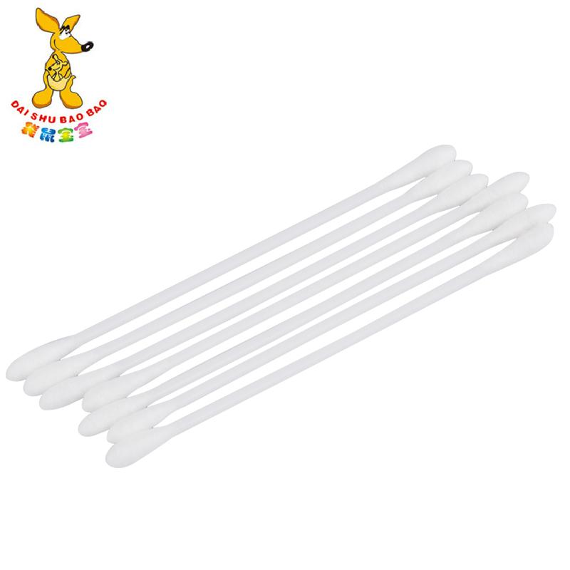 袋鼠宝宝婴儿棉签棉棒儿童双头棉签桶装180支 细头