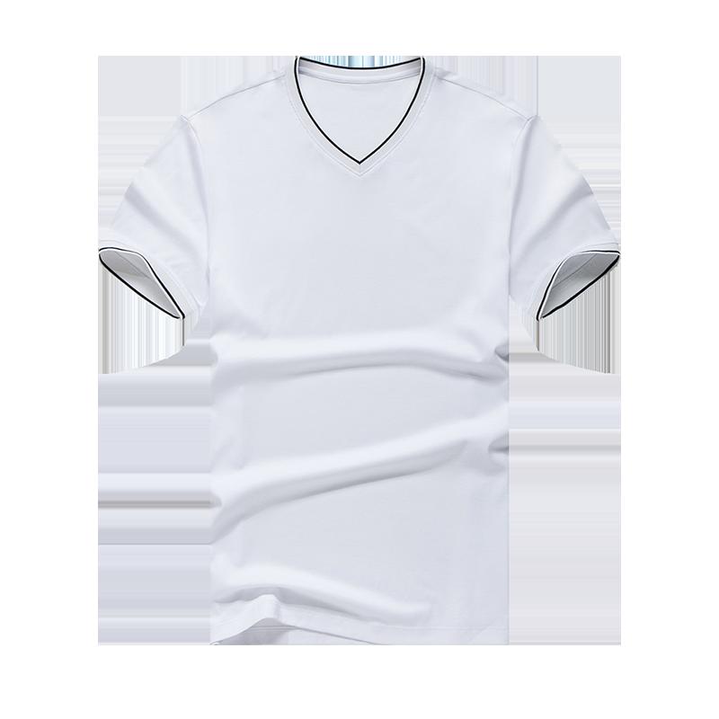 布先生 短袖T恤 丝光棉男式夏季新品简约V领纯色衣服男装AT606