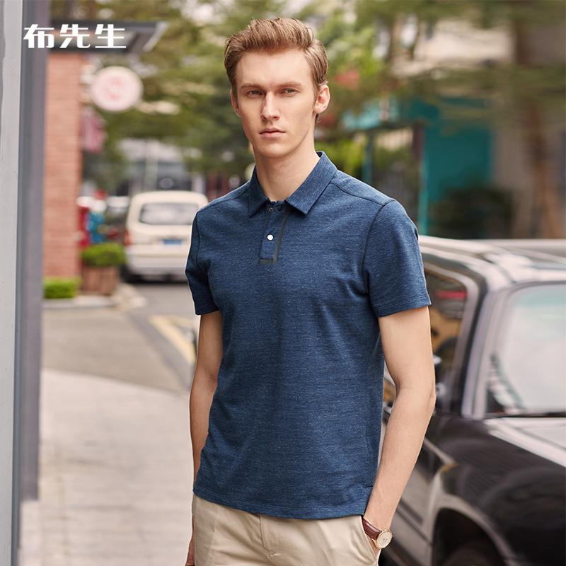 布先生POLO衫夏装翻领纯棉爸爸装短袖t恤男人商务衣服40-50岁