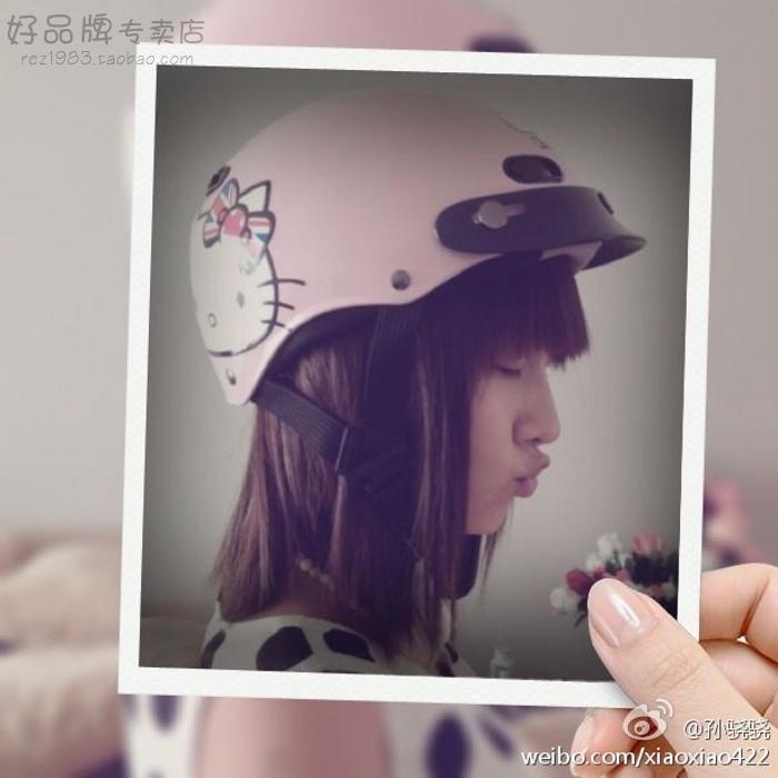 台湾EVO英国粉色电动哈雷摩托车头盔安全帽男女防晒紫外线四夏季