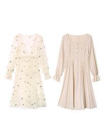 秋冬装新款法式修身韩版长袖网纱连衣裙超仙女甜美高腰长裙两件套