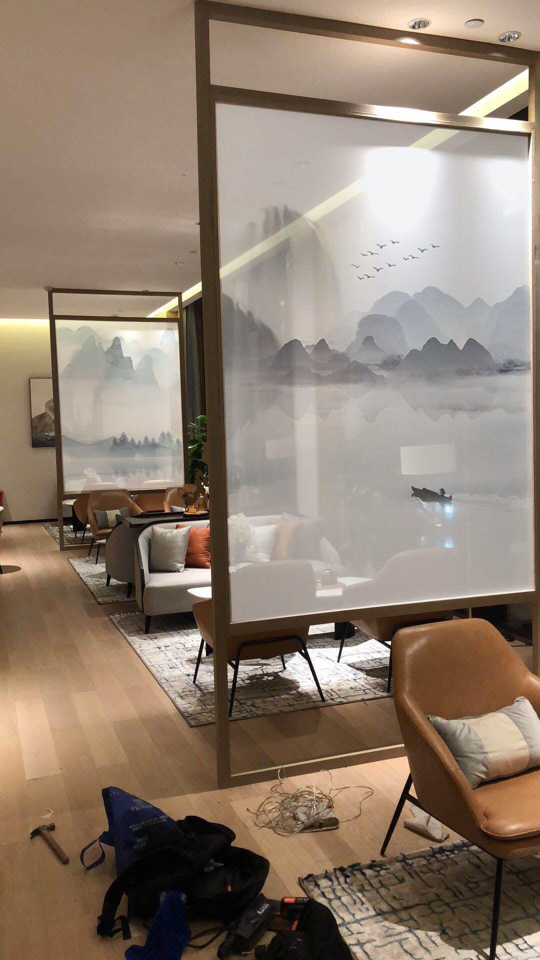 武汉新中式风格彩绘山水写意壁画武汉墙绘壁画武汉上门人工手绘