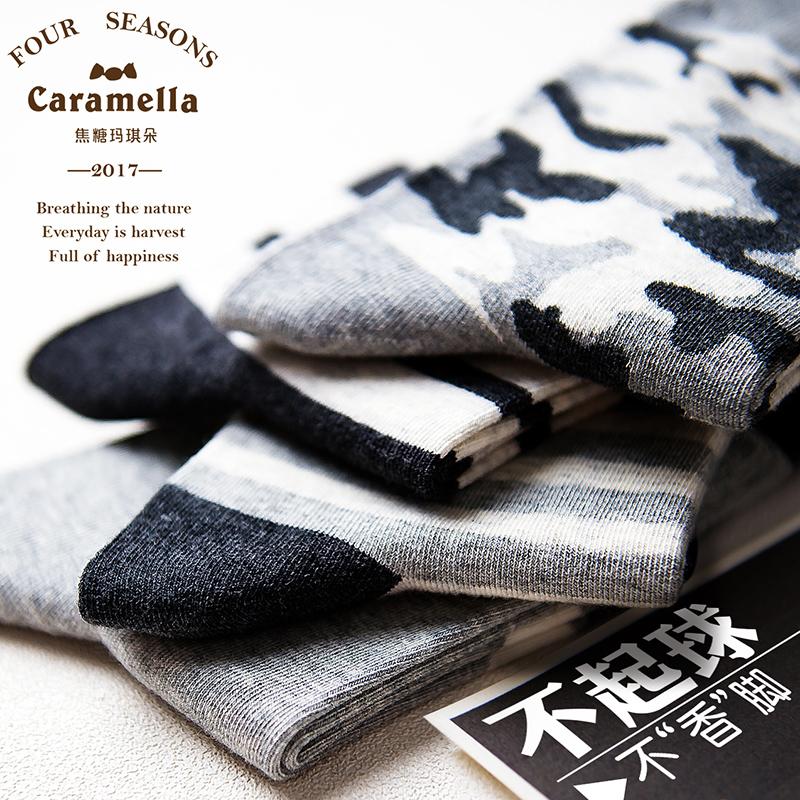 caramella袜子男士中筒防臭棉袜ins潮秋冬季加厚运动长筒袜潮流