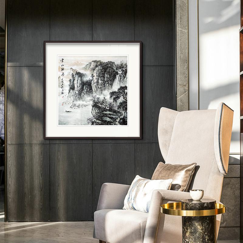 純手繪真跡國畫山水畫書畫裝飾畫新中式餐廳玄關背景墻客廳辦公室