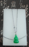 Zhongrong CNC Malay Jade Gourd Fulu Pendant 925 Sterling Silver Clip Metal Hanging Chain Necklace Pendant