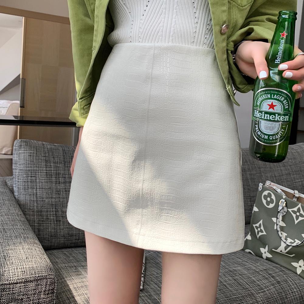 皮裙姓感包臀短裙 PU 春季新款 2020 字半身裙女 A 花花家高腰 W Alice