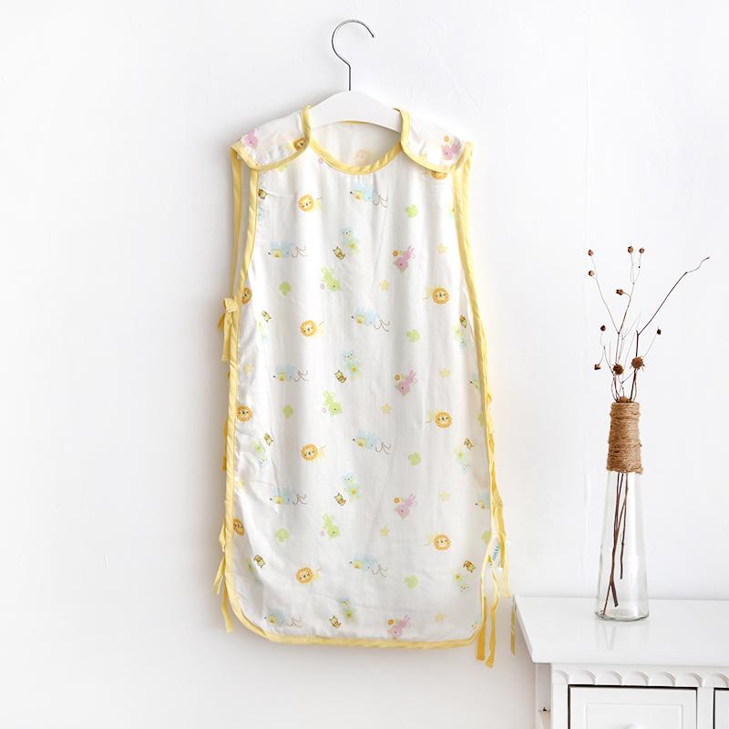 夏季婴幼儿睡袋竹纤维纱布宝宝背心式睡袋防踢被透气超柔舒适亲肤