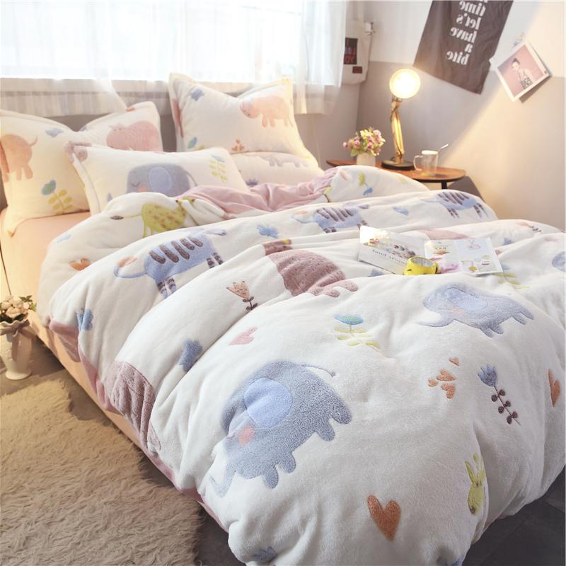 可爱卡通动物乐园加厚珊瑚绒四件套少女心法兰绒双人被套床上用品