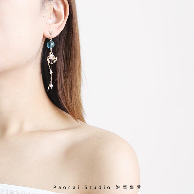 蓝鲸鱼的爱情传说 925银甜美小众耳钉女气质韩国清新海洋耳环耳坠优惠券