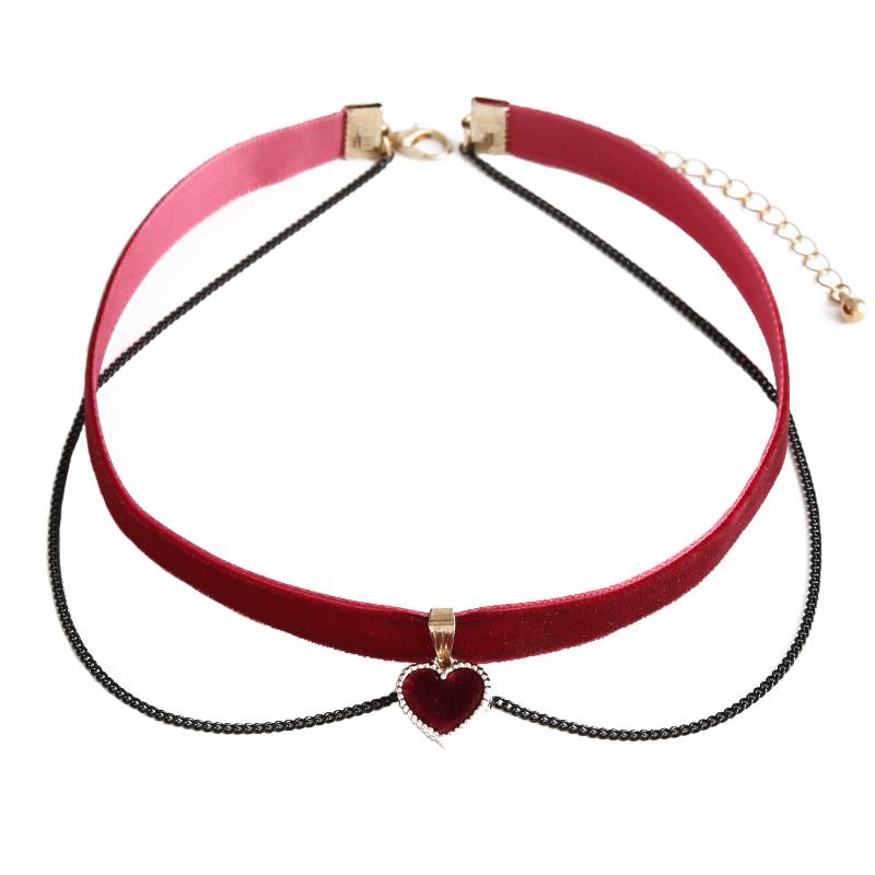 choker 情人节礼物丝绒爱心颈链锁骨链短款颈带网红项圈 一见倾心