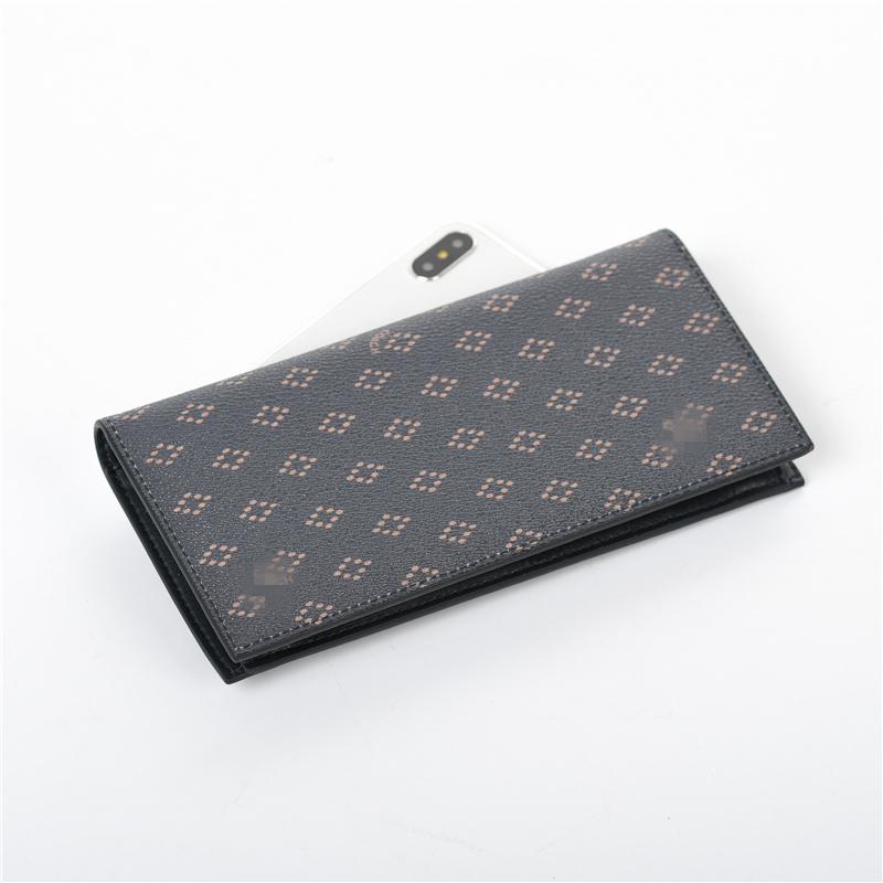 家男士钱包卡包长款西装皮夹薄款对折支票夹 C 出口正品美国