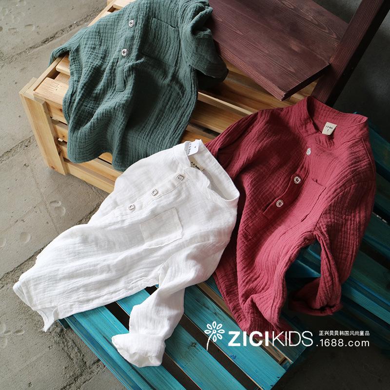 兒童棉麻長袖t恤中大童襯衣春款親子裝漢服亞麻襯衫男童女童上衣