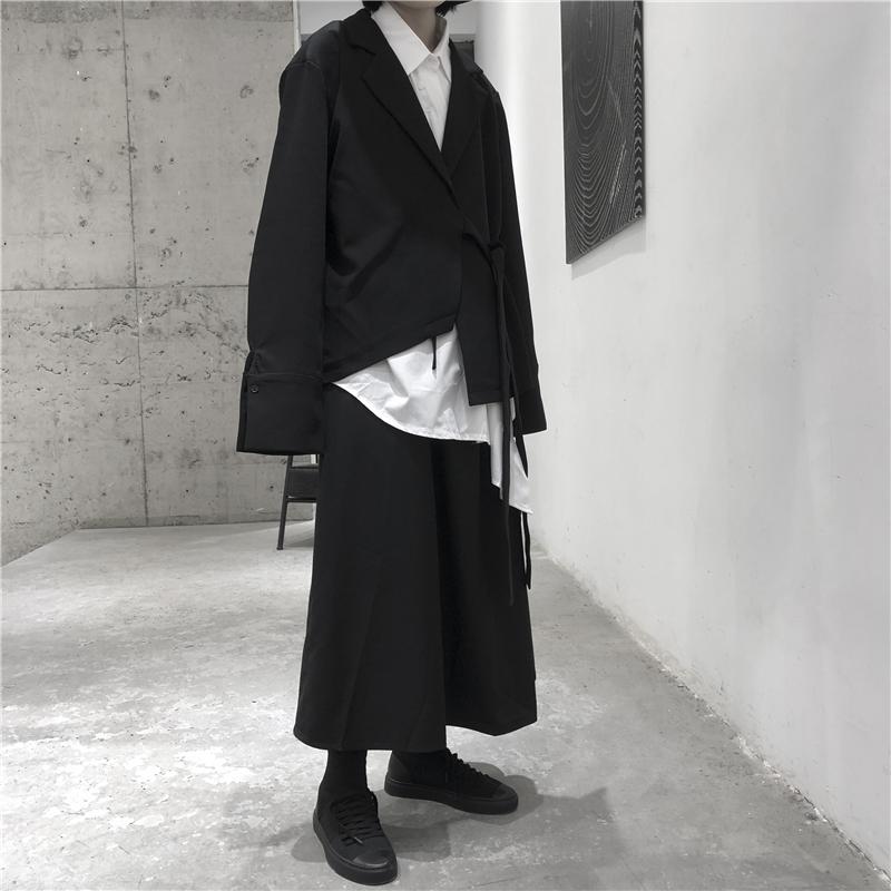 小众设计山本暗黑风不规则长袖西装薄外套中姓男女 大皂制车间