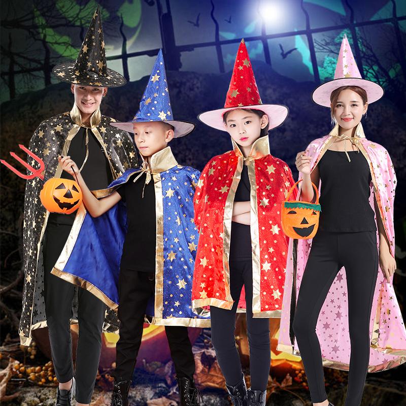 万圣节儿童表演服装男童女童化妆舞会演出女巫披风cos魔法师斗篷