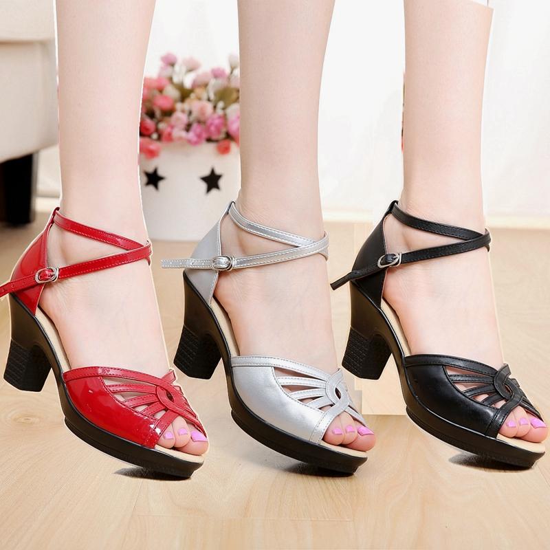 夏季女士真皮高跟跳舞鞋涼鞋粗跟成人廣場舞鞋紅色交誼舞舞蹈鞋女