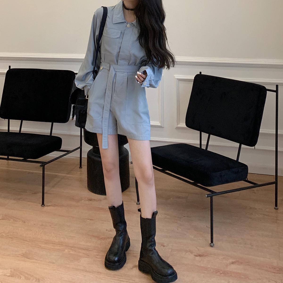 工装连体裤女夏2020年新款气质网红一件式连衣裤时髦连身短裤套装