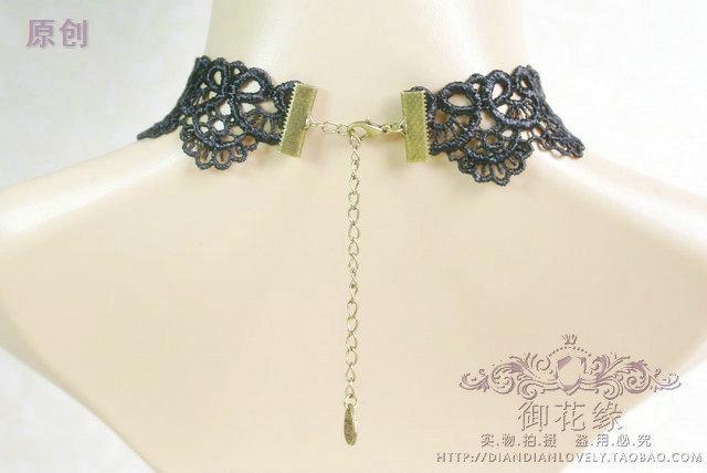 韩版宫廷复古哥特时尚黑色蕾丝女王锁骨颈饰项链饰品女 单件包邮