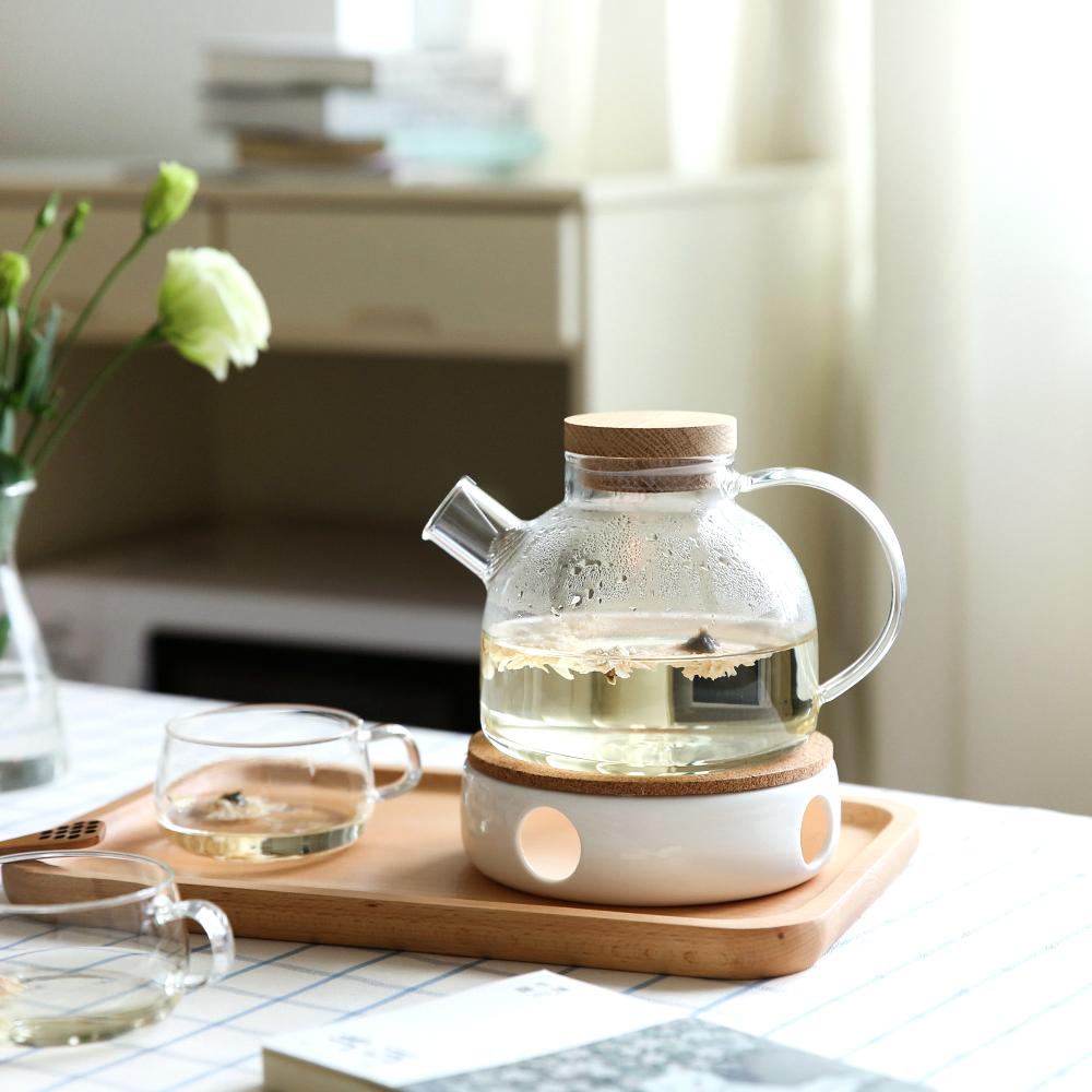 川島屋耐熱玻璃花茶壺耐高溫加厚防爆電煮加熱泡水果茶壺套裝家用
