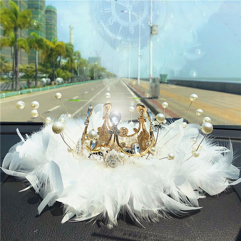 汽车装饰车内摆件高档皇冠网红车内中控台装饰品车饰摆件女可爱