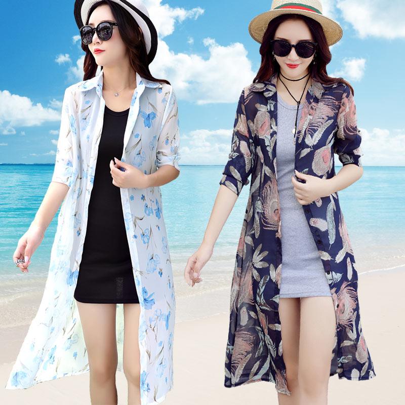 夏季外搭风衣防晒开衫女中长款柔美雪纺衫超薄度假沙滩披肩长衫潮