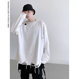 Chief model high street OVERSIZE loose shoulders beggar wind cut rotten hole unsealed casual sweater men