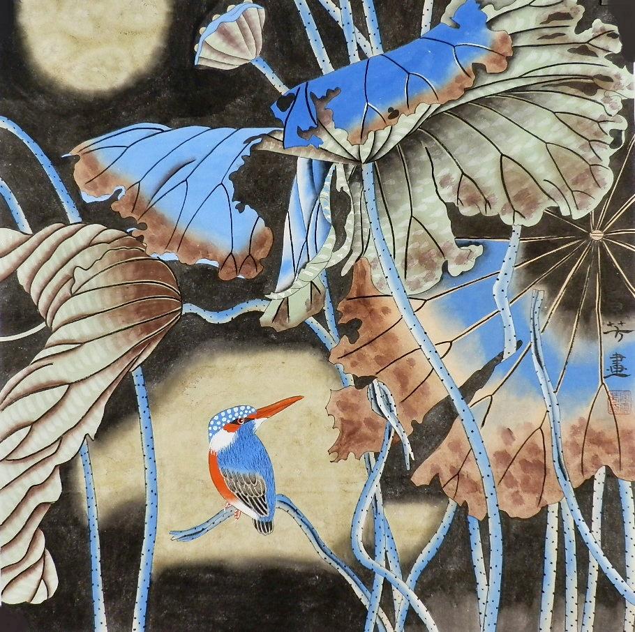 手繪字畫客廳裝飾畫熱銷顧雪芳四尺斗方工筆畫成品花鳥畫荷花GG08