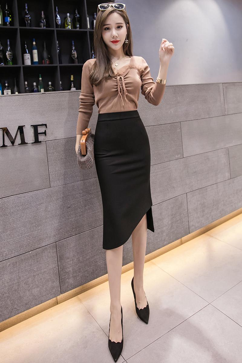 包臀裙女中长开叉弹力修身2020春夏新款气质性感不规则一步半身裙