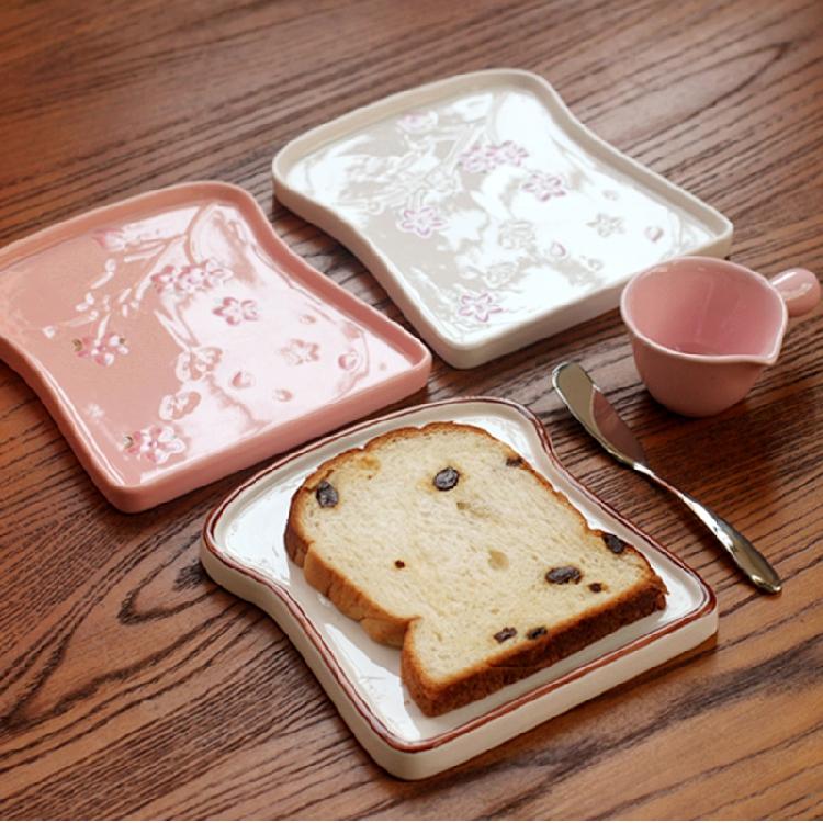 櫻花浮雕麵包盤吐司盤蛋糕盤烤盤陶瓷麵包盤