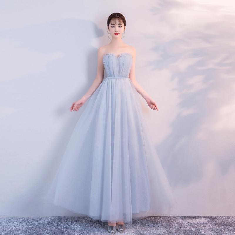 19新品伴娘礼服长款纯色姐妹裙装蓝灰色网纱结婚年宴会表演包邮